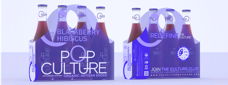 Linear 4-pack bottle carrier design, label design, and package design by Croff Creative for Pop Culture Beverage Co.